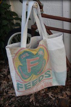 Tote / Bag : Large, Upcycled , Feedsack Bag , Reversible Tote , Shopping Bag, Shoulder Bag
