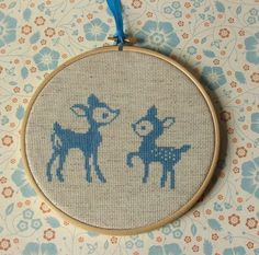 Fawn and Doe Counted Cross Stitch Kit by slipcoveryourlife on Etsy Just Cross Stitch, Cross Stitch Art, Cross Stitch Animals, Counted Cross Stitch Kits, Cross Stitching, Cross Stitch Embroidery, Cross Stitch Patterns, Crochet Cross, Filet Crochet