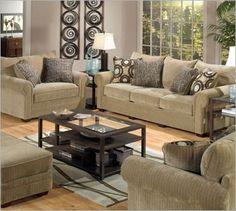Tan apartment sized sofa group