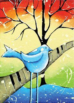 ACEO Print Blue Bird Folk Art Artist Trading Card by hjmArtGallery, $3.75