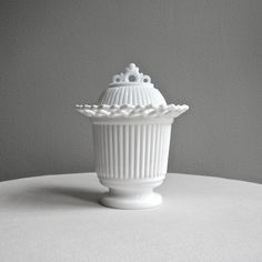 Westmoreland Milk Glass Covered Candy Dish  by BarkingSandsVintage, $42.00