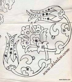 Embroidery Pattern from Turkish Folk Art. Bordado Jacobean, Jacobean Embroidery, Floral Embroidery Patterns, Blackwork Embroidery, Embroidery Works, Couture Embroidery, Folk Embroidery, Applique Patterns, Beaded Embroidery
