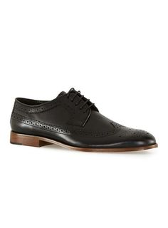 Black Leather Longwing Brogue - New This Week - New In - TOPMAN EUROPE