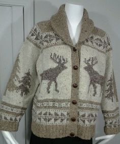 Ralph Lauren Reindeer Sweater Exclusinve Hand Knit Wool Shawl Collar Womens SZ L in Clothing, Shoes & Accessories, Women's Clothing, Sweaters | eBay