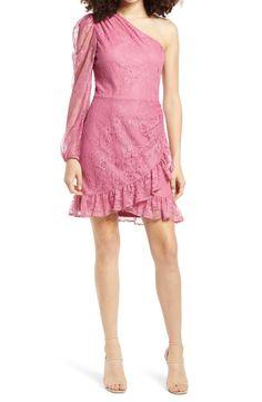 WAYF x BFF Jess One-Shoulder Lace Minidress   Nordstrom