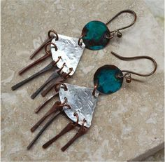 Sterling Silver and Copper Earrings by SunStones on Etsy, $22.00