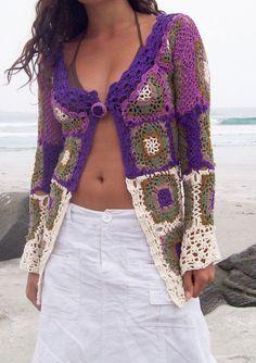 Granny Square Chic Long Sweater.