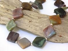 Jasper Necklace Gemstone Necklace Adjustable by BlondePeachJewelry - #ButterflysPin