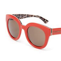 Women's coral red glasses with oversized round frame by Dolce