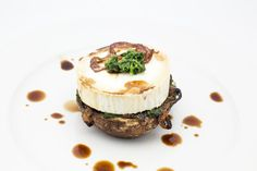 Oven baked Portabello with Spinach, Caramelized Onion and Chèvre