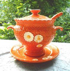 1970s Orange Daisy Kitchen Decor Ceramic Soup by ondowntheroad, $22.50