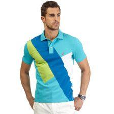Slim Fit Diagonal Pieced Deck Polo Shirt