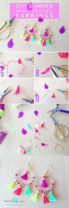 Summer Mini Tassel Earrings Learn how to make these shining summery mini tassel earrings with beads! Perfect for your future beach parties.Learn how to make these shining summery mini tassel earrings with beads! Perfect for your future beach parties. Tassel Earing, Diy Tassel, Tassel Jewelry, Tassels, Thread Jewellery, Beaded Earrings, Earrings Handmade, Handmade Jewelry, Diy Collier