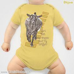 The Three 3 Billy Goats Gruff ONESIE Babies It's a Girl Boy Nursery Baby Shower Gift Pastel Neutral Whimsical Soft Bright Nigerian Dwarf Fun by CanisPicta, $26.00
