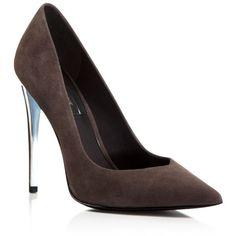 Rachel Zoe Via Suede Pointed Pumps ($328) ❤ liked on Polyvore featuring shoes, pumps, grey, grey shoes, rachel zoe shoes, pointy shoes, suede pumps and gray suede shoes