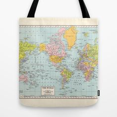 Oilcloth tote bag world map design kids room pinterest map world map tote bag travel theme tote everything bag by mapology gumiabroncs Choice Image