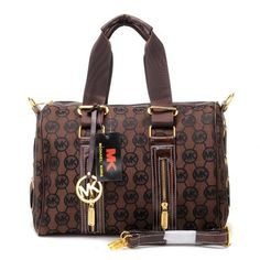 Michael Kors Logo Monogram Large Coffee Satchels Outlet
