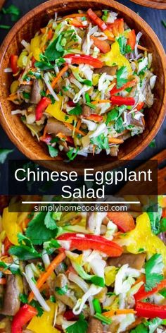 Chinese Eggplant Salad is a perfect summer salad full of bright colored vegetables and rich flavors. Make this as an ideal side for summertime grilling! Quick Recipes, Summer Recipes, Gourmet Recipes, Vegan Recipes, Cooking Recipes, Soul Food Kitchen, Chinese Eggplant, Asian Chicken Salads, Antipasto Salad