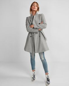 Petite Premium Wool Blend Belted Trench Coat