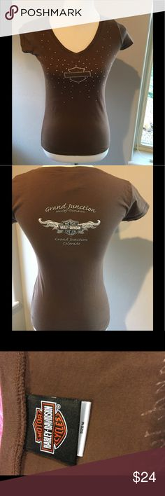 Harley-Davidson Tshirt Brown with Bling.  From Colorado Harley-Davidson Tops Tees - Short Sleeve
