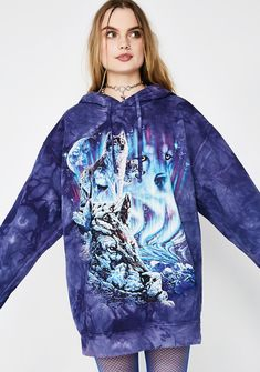 Return To Nature Wolf Hoodie will keep your primal instincts on high. This blueish-purple pullover hoodie fits ya loose with a front pocket and trippy wolf graphic.