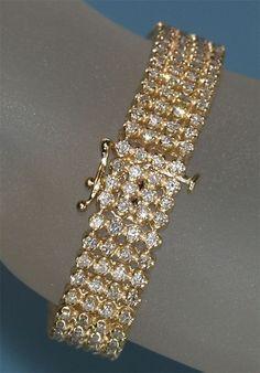 Diamantring / Diamantarmband / Diamantschmuck: Diamantarmband 12.00 Karat aus Gelbgold gefertigt ...