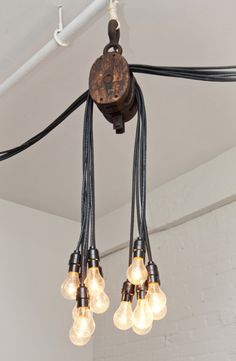 Pulleys and light bulbs.  #diy #howto #doityourself #like #love #pins