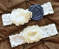 Wedding Garter, Bridal Garter Set - Keepsake Garter, Rolled Silk Rosette Navy Blue, Shabby Chiffon Ivory, Ivory Lace Garter, Something Blue on Etsy, $24.00