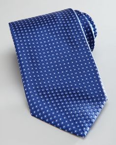 Dot-Print Silk Tie, Navy/White by Brioni at Neiman Marcus.