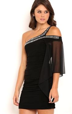 One Shoulder Flutter Sleeve Cocoon Dress with Stone Trim Semi Dresses, Nice Dresses, Casual Dresses, 8th Grade Prom Dresses, Homecoming Dresses, Party Dresses, Chic Outfits, Fashion Outfits, Cocoon Dress