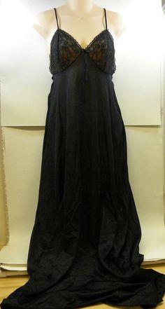 Vintage Sears Black Slip Full Length Long Small #Sears #Slip