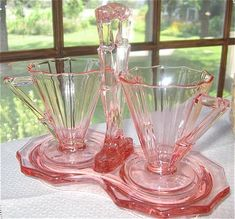 pretty pink glass. Just love this! shabby chic