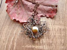Necklace Copper Pendant Agate Wire Wrapped by CopperyArt on Etsy