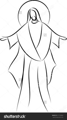 Jesus Christ simple line drawing vector illustration with his arms spread out. Coloring Pages Nature, Coloring Pages For Girls, Animal Coloring Pages, Coloring Book Pages, Coloring Sheets, Simple Line Drawings, Unique Drawings, Easy Drawings, Beautiful Drawings