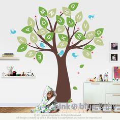 Wall decal, Alphabet tree and Birds - Nursery Kids Removable Wall Vinyl Decal. $82.00, via Etsy.