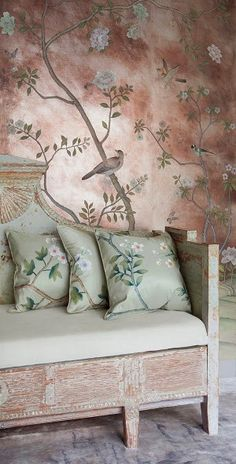home decor in chinoiserie style - de Gournay Wallpaper, Chinoiserie De Gournay Wallpaper, Chinoiserie Wallpaper, Chinoiserie Chic, Silk Wallpaper, Painted Wallpaper, Wallpaper For Home Wall, Classy Wallpaper, Oriental Wallpaper, Wallpaper Furniture