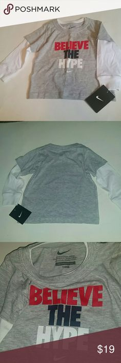 *NWT* Baby Boy long sleeve top *NWT* Nike baby boy long sleeve top, size 18 Months  (Boy). Colors are gray and white. Nike Tops