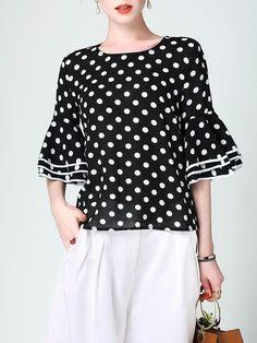 Shop blouses - black h-line bell sleeve polka dots blouse online Blouse And Skirt, Black Blouse, Blouse Styles, Blouse Designs, Polka Dot Blouse, Polka Dots, Stylish Tops, Blouse Online, Corsage