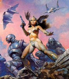 Frank Frazetta, right side of Dawn Attack, used for the cover of Writers of the Future Volume Frank Frazetta, Arte Sci Fi, Sci Fi Art, Fantasy Paintings, Fantasy Artwork, Comics Vintage, Arte Obscura, Sword And Sorcery, Science Fiction Art