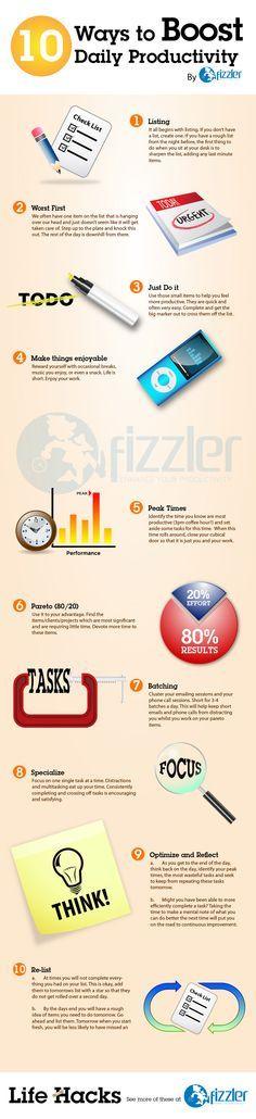 10 Ways to Boost Productivity - Lifehack #TimeManagement #CareerGoals #allintowin