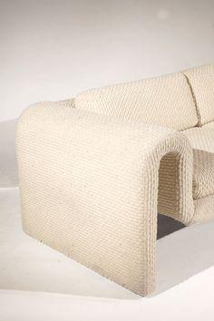 View this item and discover similar for sale at - A Rare Sofa by Steve Leonard for Brayton International A Rare and beautiful sofa in cream chenillen from the 'Ribbon Collection'. This early