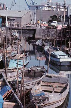昭和45年当時の佃島(東京都) (1970年撮影) 【時事通信社】