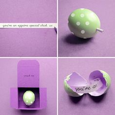 Easter note in an eggshell......This could be a neat way to announce a spring pregnancy or gender.