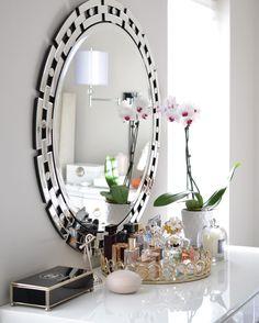 our Forza mirror is simply sensational as a vanity starter… Perfume Storage, Perfume Display, Perfume Organization, Perfume Tray, Makeup Organization, Futuristic Interior, Modern Interior, Interior Design, Bandeja Perfume