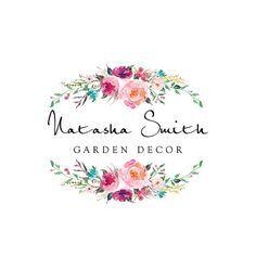 Diseño de logotipos predefinidos, caligrafía insignia, insignia Floral acuarela, logotipo moderno, marca de encargo tarjeta de visita, boda signos PL45