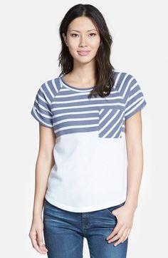 Caslon® Colorblock Short Sleeve Sweatshirt (Regular & Petite)   Nordstrom