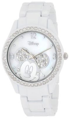 Disney Women's Mickey Mouse Rhinestone Accent Spray White Bracelet Watch Mickey Mouse Watch, Minnie Mouse, Jewelry Clasps, Jewelry Watches, Rhinestone Jewelry, Pandora Jewelry, Jewlery, Disney Collection, Disney Jewelry