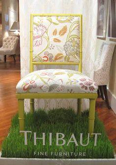 Thibaut. Cane chair with custom Thibaut fabric.