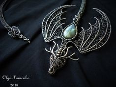 place to buy and sell all things handmade Dragon necklace Open necklace Wire wrap dragon Collar necklace Wire Jewelry Earrings, Copper Jewelry, Pendant Jewelry, Copper Wire, Wire Jewellery, Macrame Necklace, Jewellery Display, Silver Earrings, Pendant Necklace