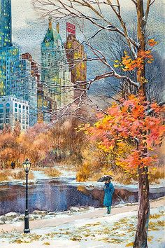 Central Park South watercolor painting by Roustam Nour fine art giclée print. The painting is printed on exhibition quality textured watercolor paper. City Painting, Autumn Painting, Autumn Art, Watercolor City, Watercolor Paintings, Watercolor Paper, Fall Drawings, New York Landmarks, Essex Homes